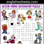Action Verbs Esl Printable Crossword Puzzle Worksheets For Kids   Printable Lexicon Puzzles