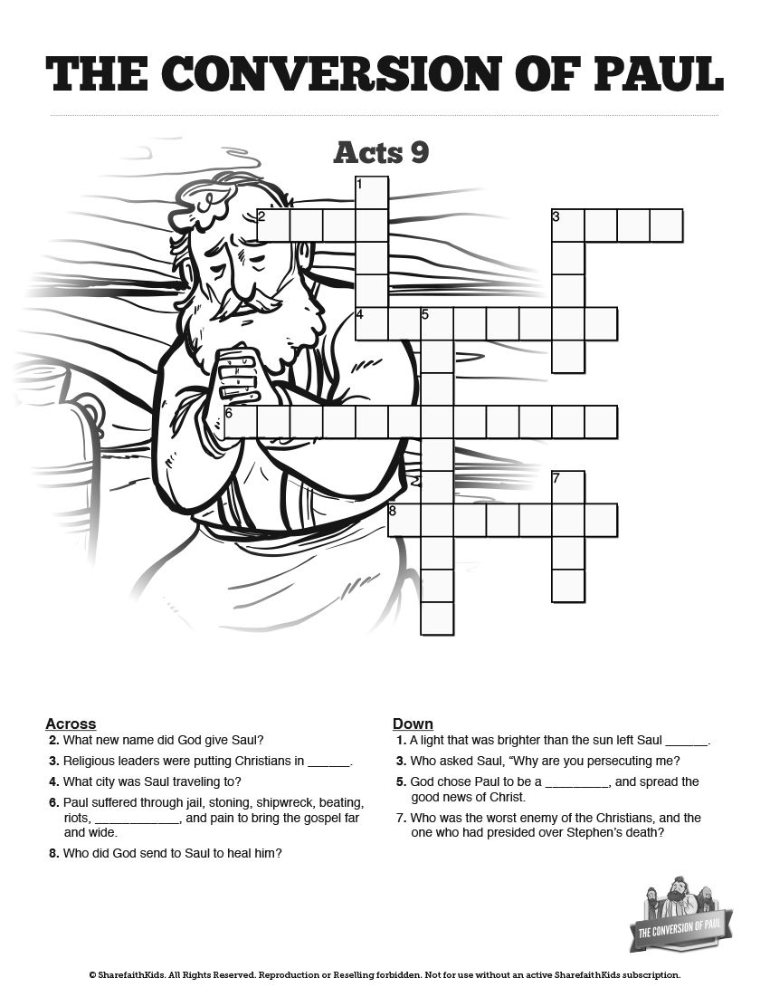 Acts 9 Paul's Conversion Sunday School Crossword Puzzles: Fun For - Printable Bible Crossword Puzzle The Apostle Paul Answers