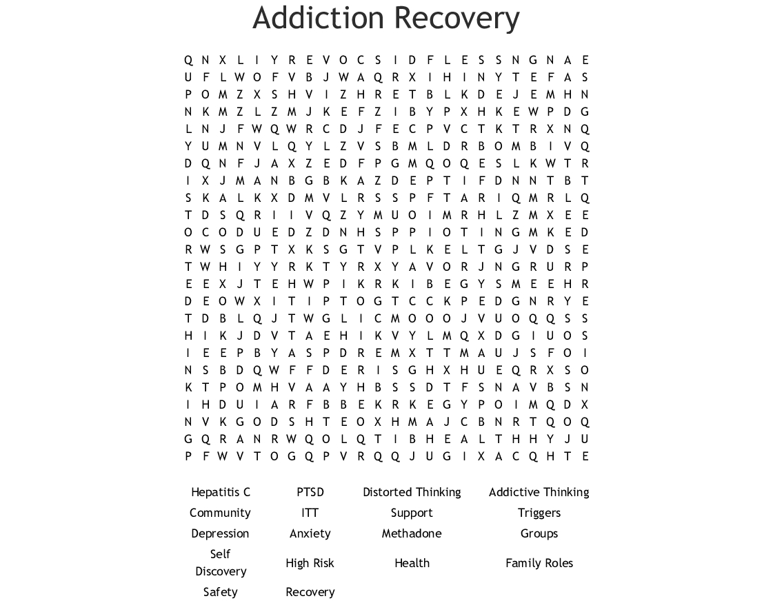 Addiction Recovery Word Search - Wordmint - Free Printable Recovery Crossword Puzzles
