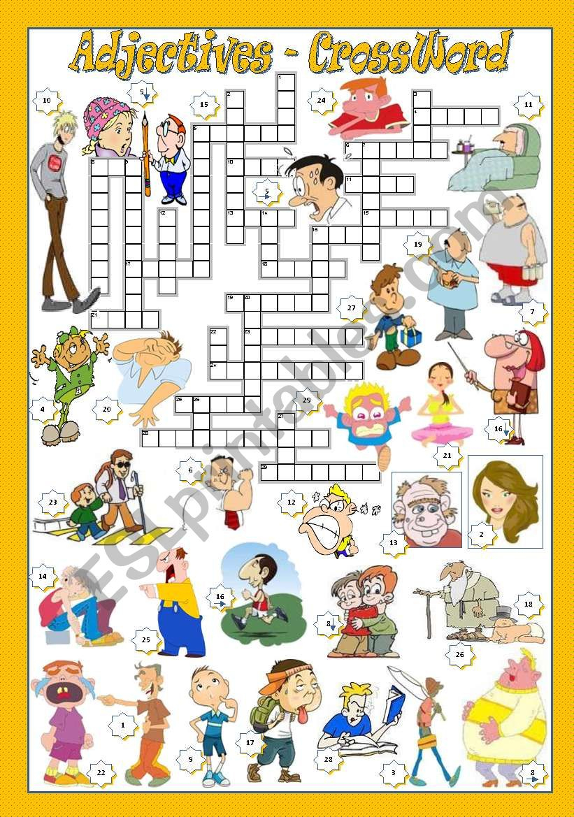 Adjectives - Crossword - Esl Worksheetmariaolimpia - Adjectives Crossword Puzzle Printable