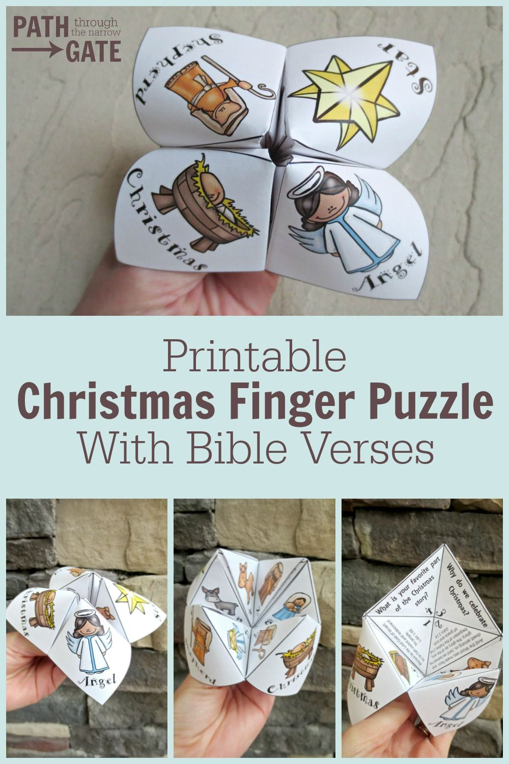 Adorable Printable Christmas Finger Puzzle With Bible Verses - These - Printable Origami Puzzle