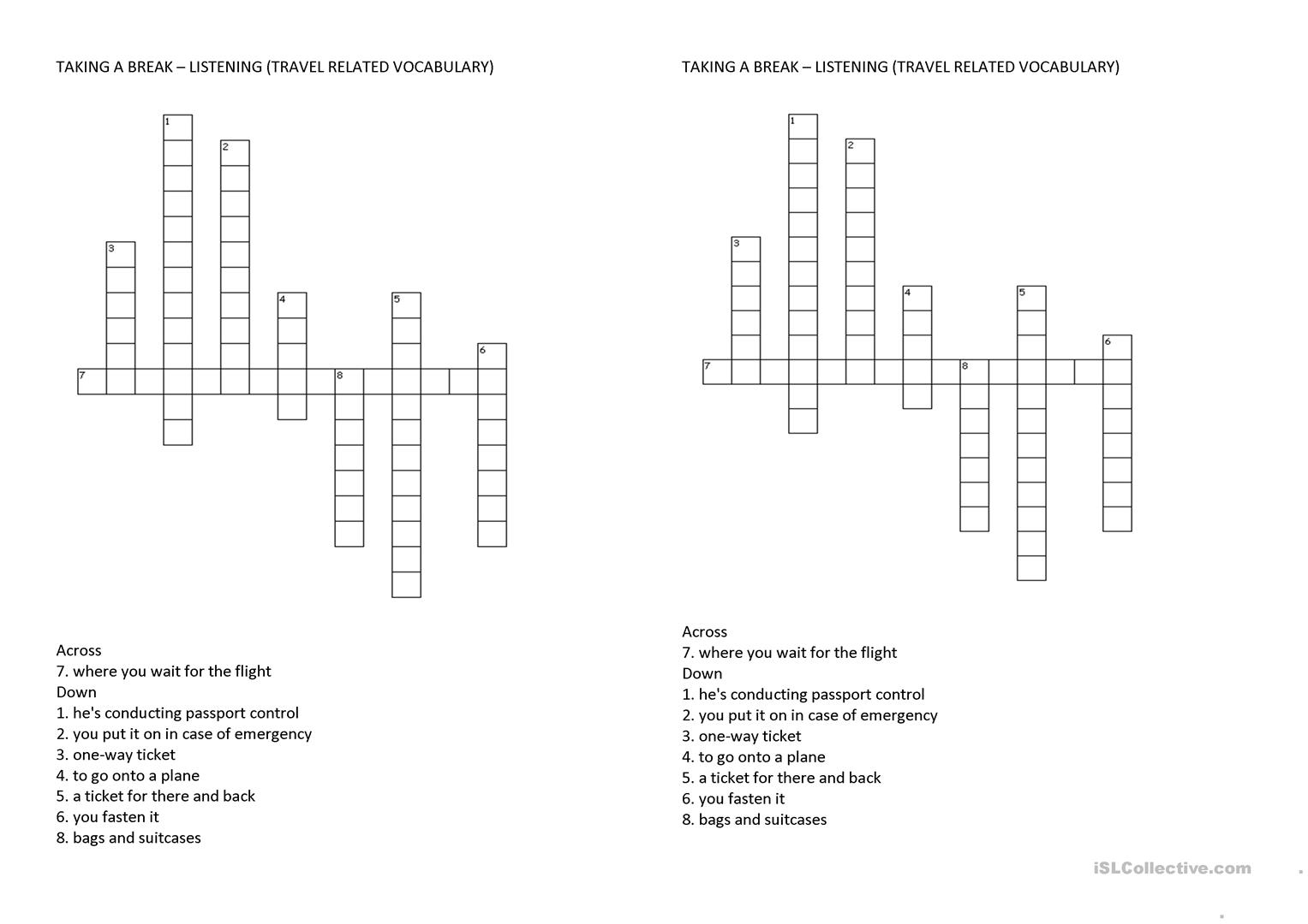Air Travel Vocabulary Crossword Puzzle Worksheet - Free Esl - Printable Crossword Puzzles Travel