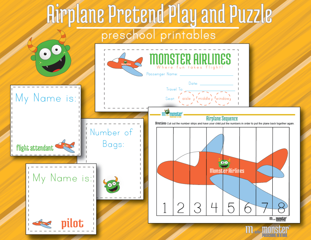 Airplane Free Pretend Play Printables And Math Puzzle For Toddlers - Printable Puzzle For Toddlers