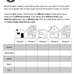 Albert Einstein's Riddle Has Been Turned Into A Fun Esl Lesson For   Printable Einstein Puzzles