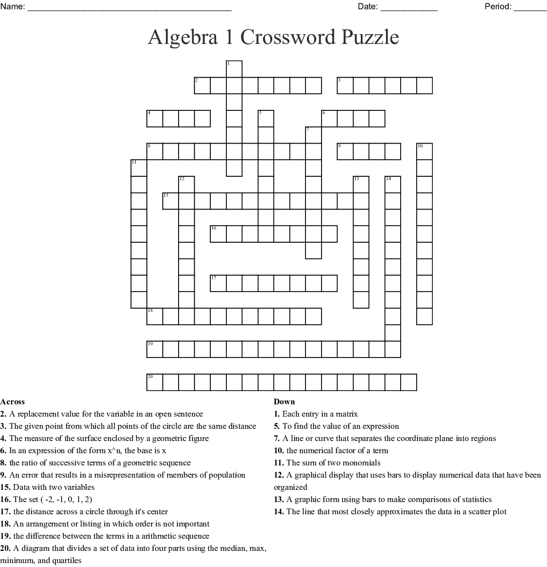 Algebra 1 Crossword Puzzle Crossword - Wordmint - Algebra Crossword Puzzle Printable