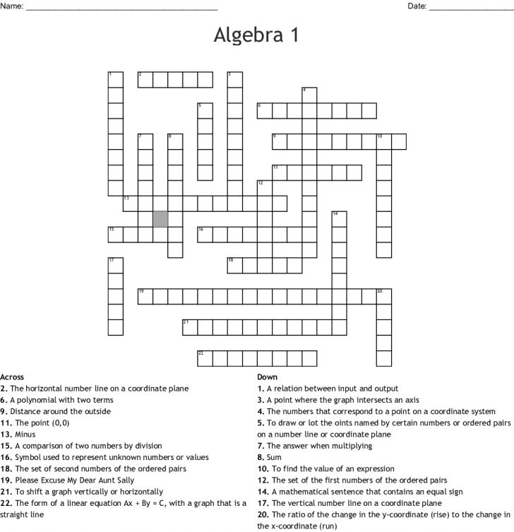 Printable Crossword #1