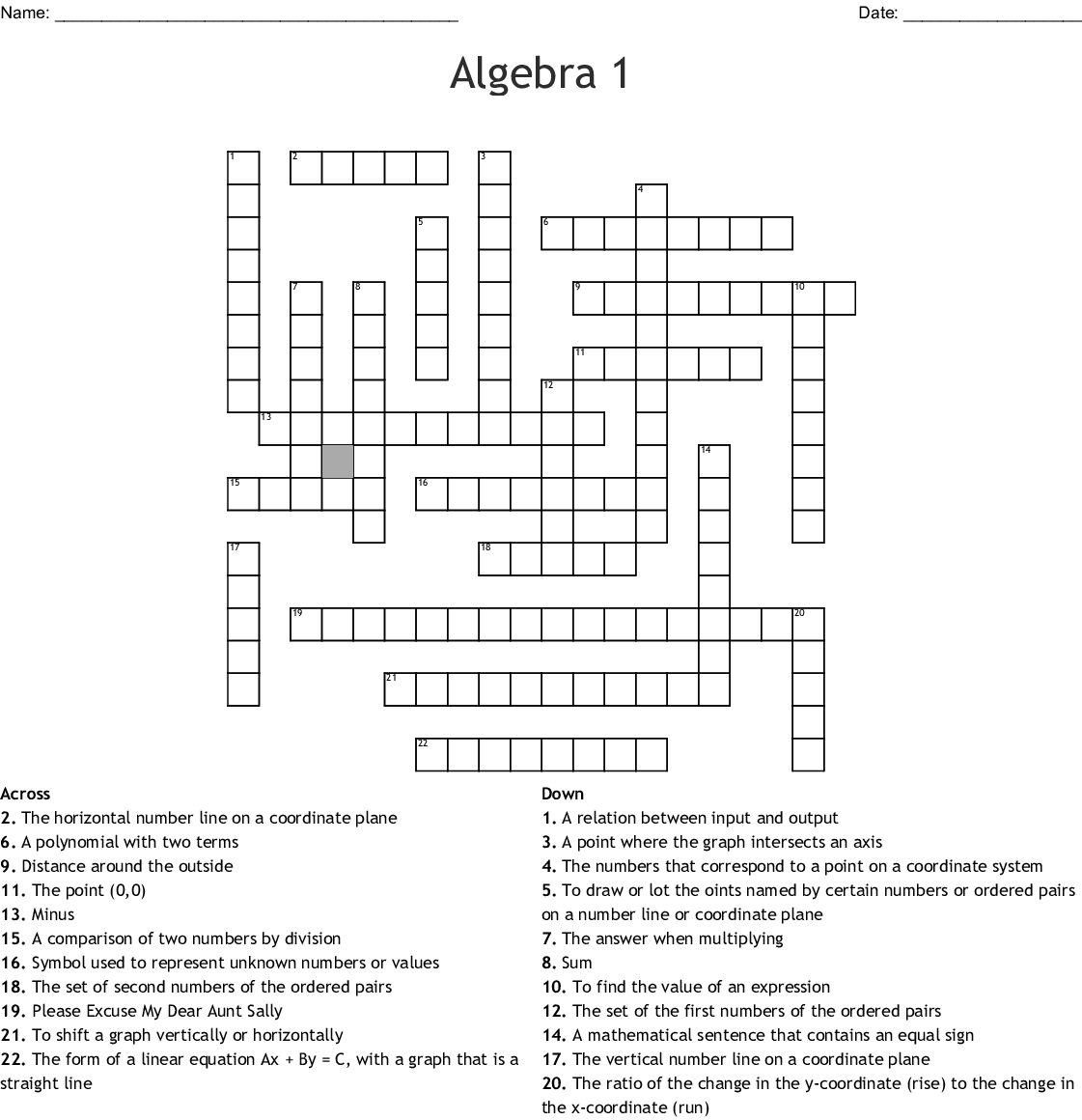 Algebra 1 Crossword - Wordmint - Printable Crossword #1