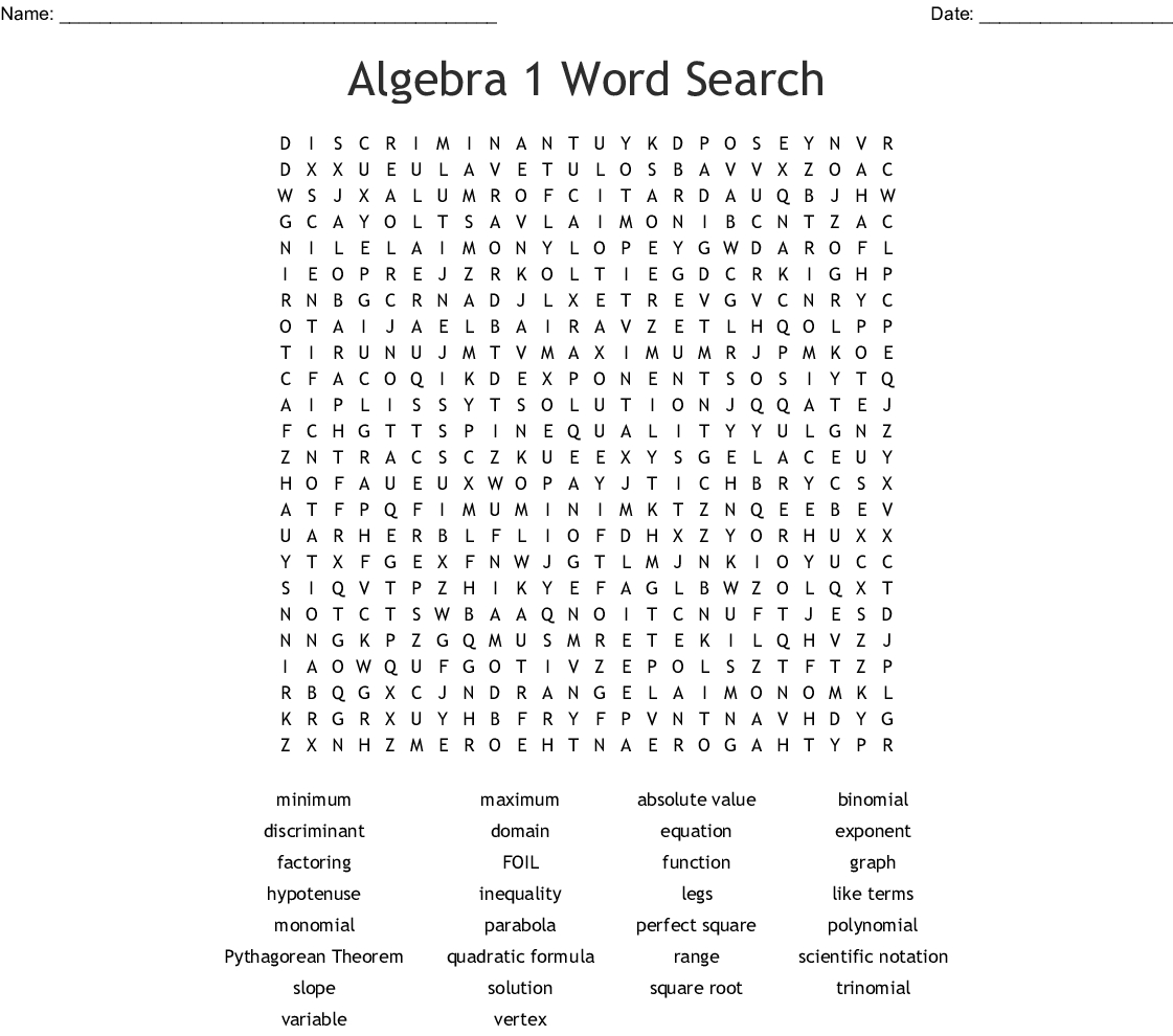 Algebra 1 Word Search - Wordmint - Algebra 1 Crossword Puzzles Printable