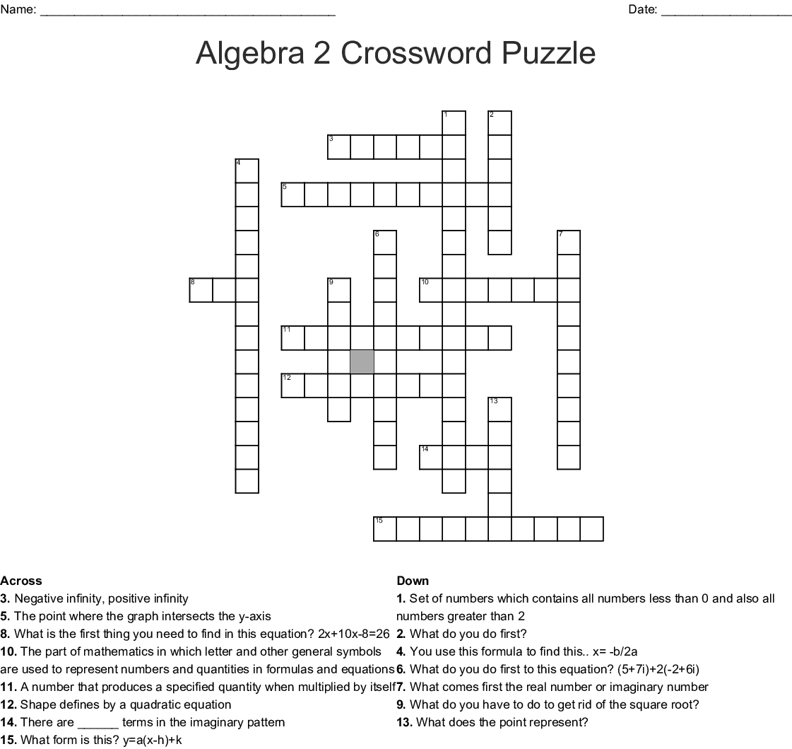 Algebra 2 Crossword Puzzle Crossword - Wordmint - Algebra Crossword Puzzle Printable