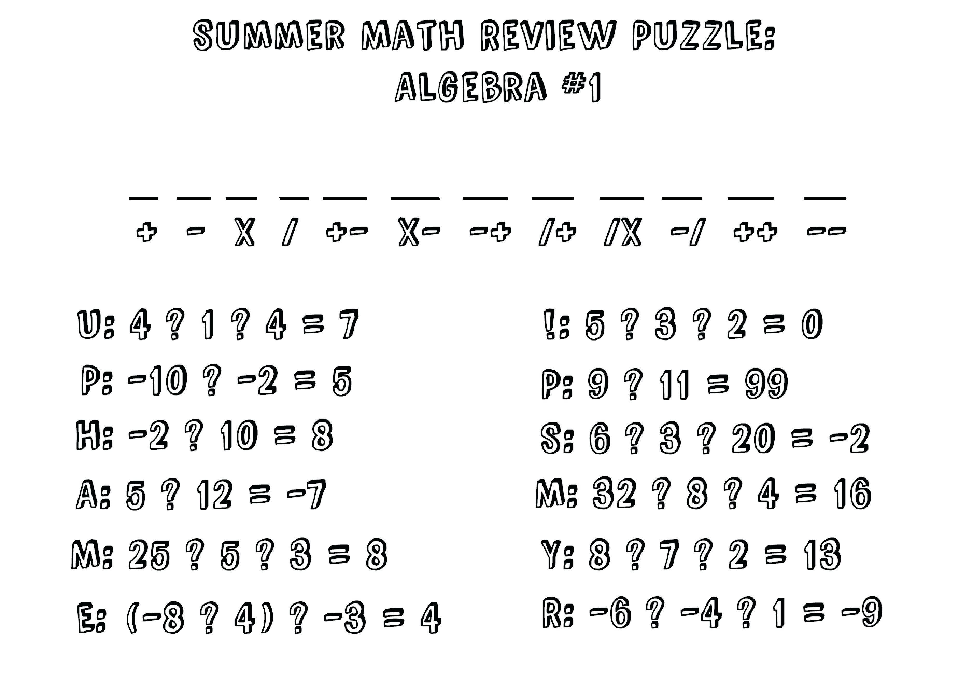 Algebra: Math Worksheet Puzzles For High School Ideas Fun Algebra - Printable Maths Puzzles Ks3
