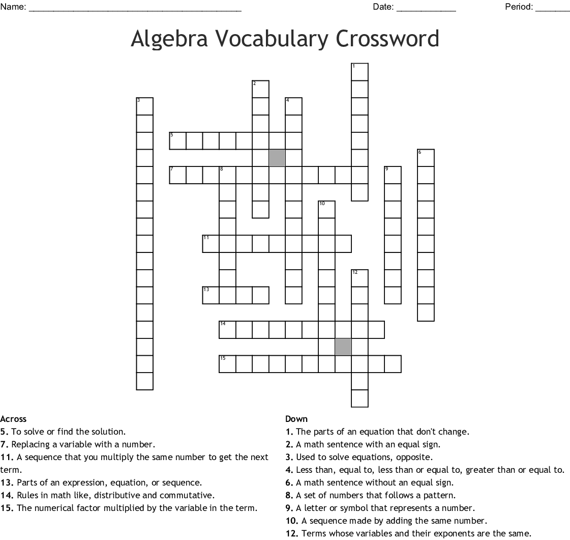 Algebra Vocabulary Crossword - Wordmint - Algebra Crossword Puzzle Printable