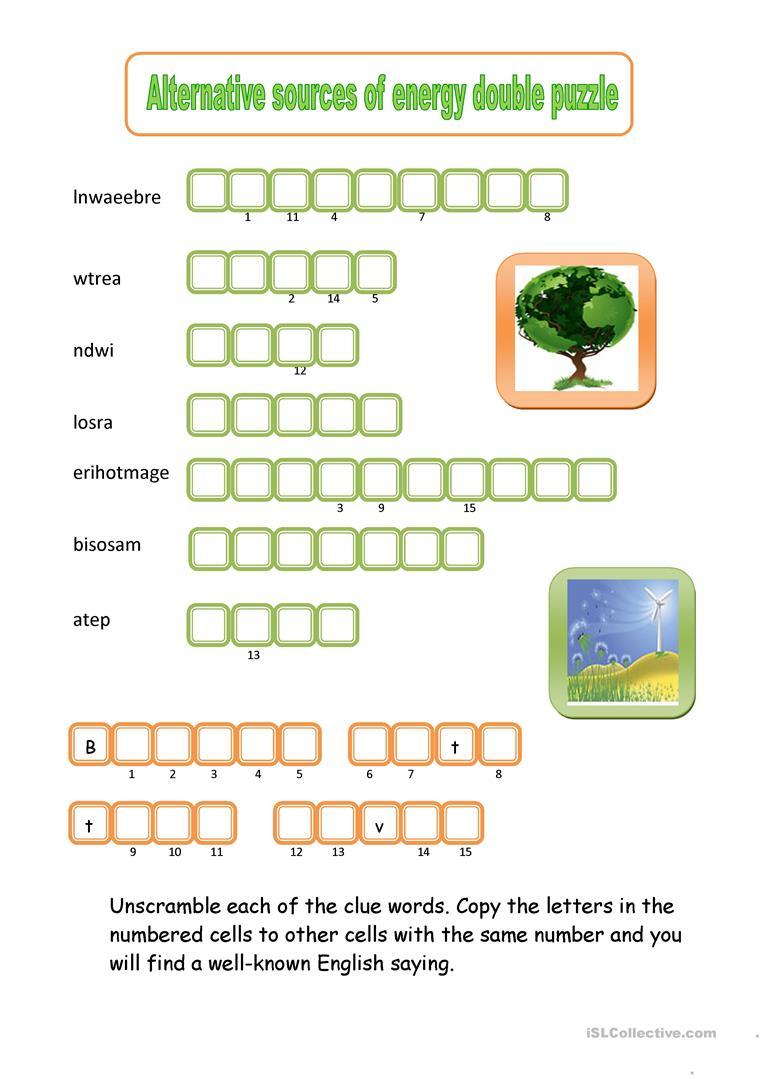 Alternative Sources Of Energy Double Puzzle Worksheet - Free Esl - Printable Energy Puzzle