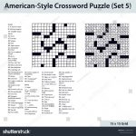 Americanstyle Crossword Puzzle 15 X 15 Stock Vector (Royalty Free   15 X 15 Printable Crosswords