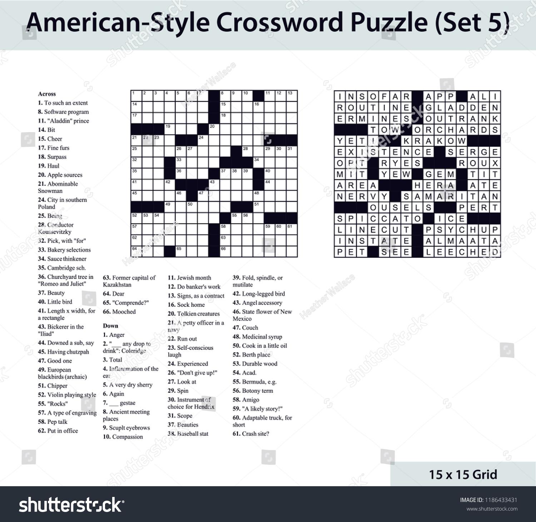 Americanstyle Crossword Puzzle 15 X 15 Stock Vector (Royalty Free - 15 X 15 Printable Crosswords