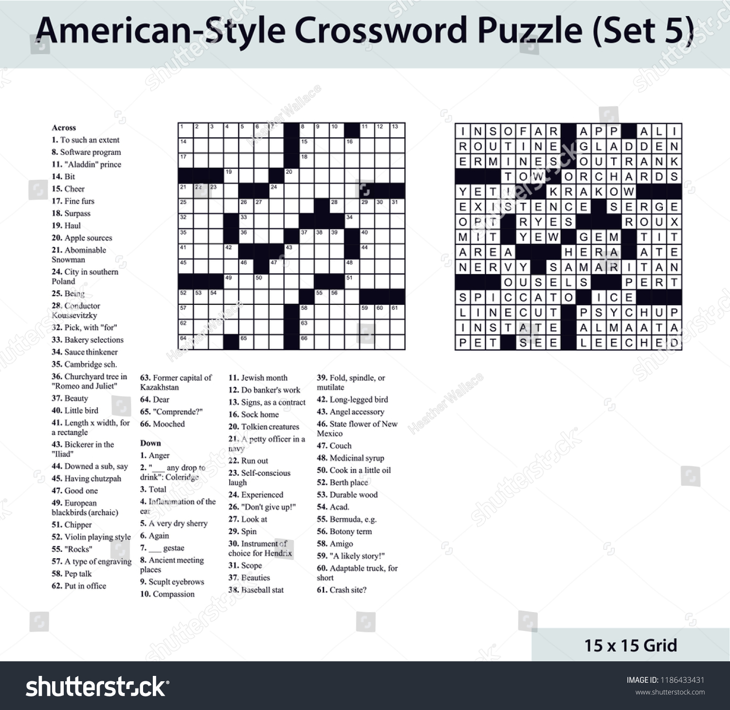 Americanstyle Crossword Puzzle 15 X 15 Stock Vector (Royalty Free - 15X15 Printable Crossword Puzzles