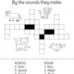 Animals And Their Sounds Crossword Puzzle.   Crossword Puzzles For Kids   Printable Crossword Puzzles About Animals