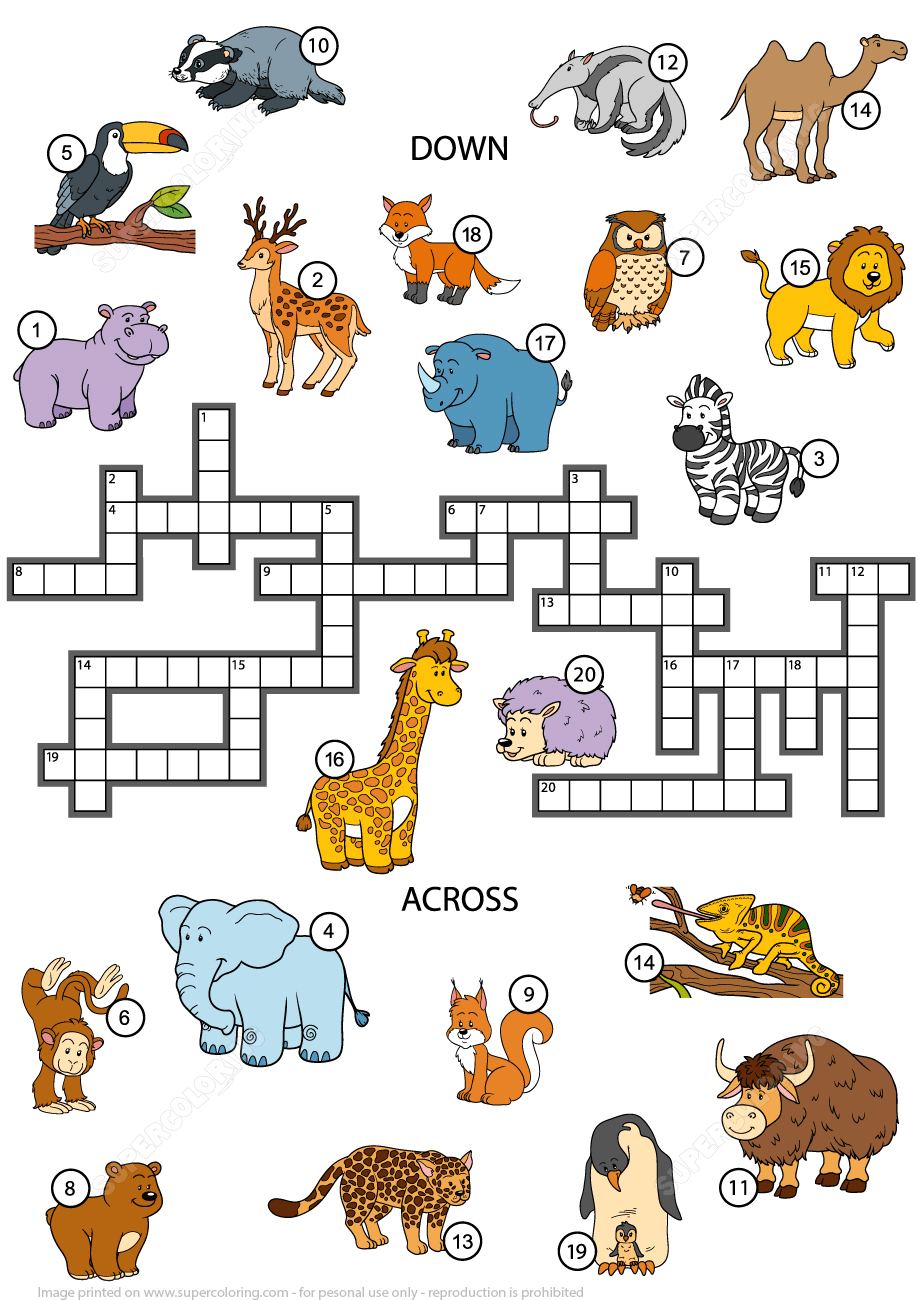 Animals Crossword Puzzle For Studying English Vocabulary | Free - Printable Crosswords To Learn English