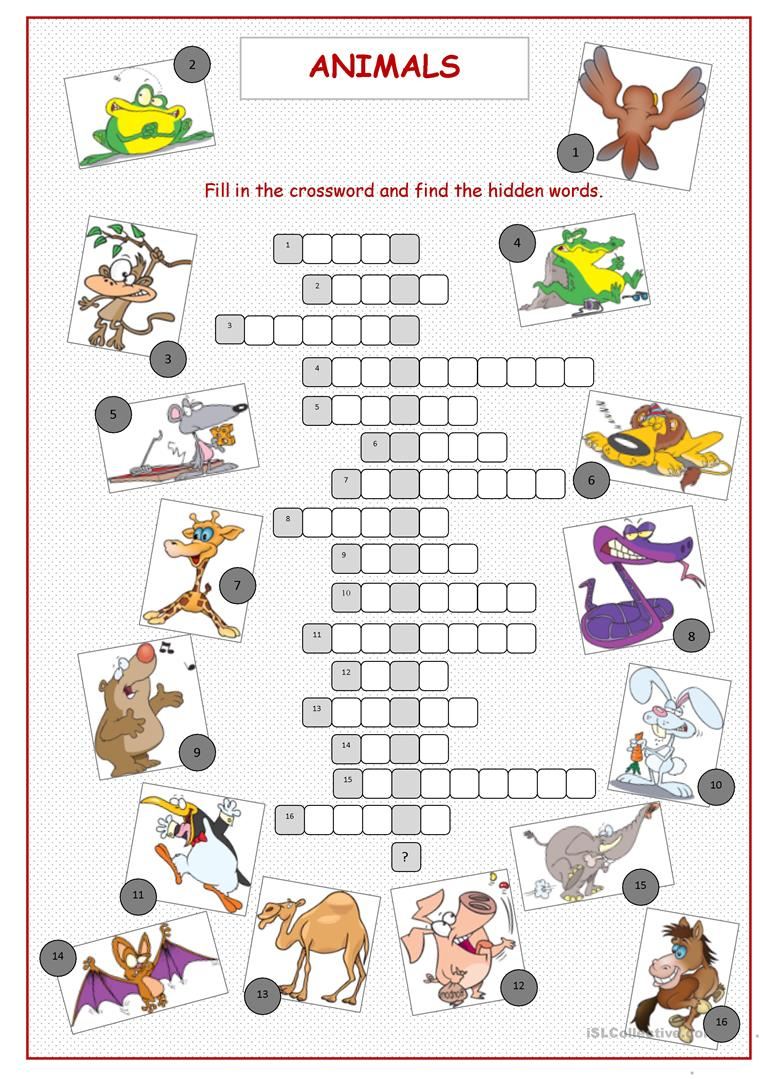 Animals Crossword Puzzle Worksheet - Free Esl Printable Worksheets - Printable Crossword Puzzle Animals