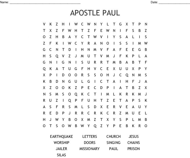 Printable Bible Crossword Puzzle The Apostle Paul Answers