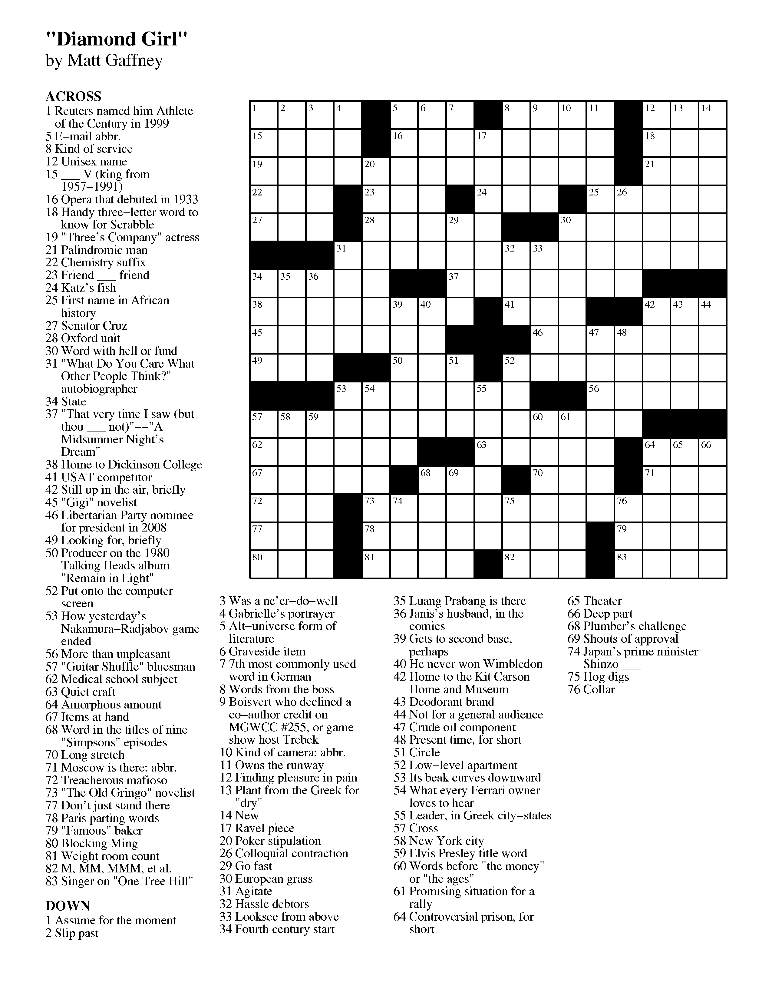 April | 2013 | Matt Gaffney's Weekly Crossword Contest - Free Printable Daily Crossword Puzzles October 2016