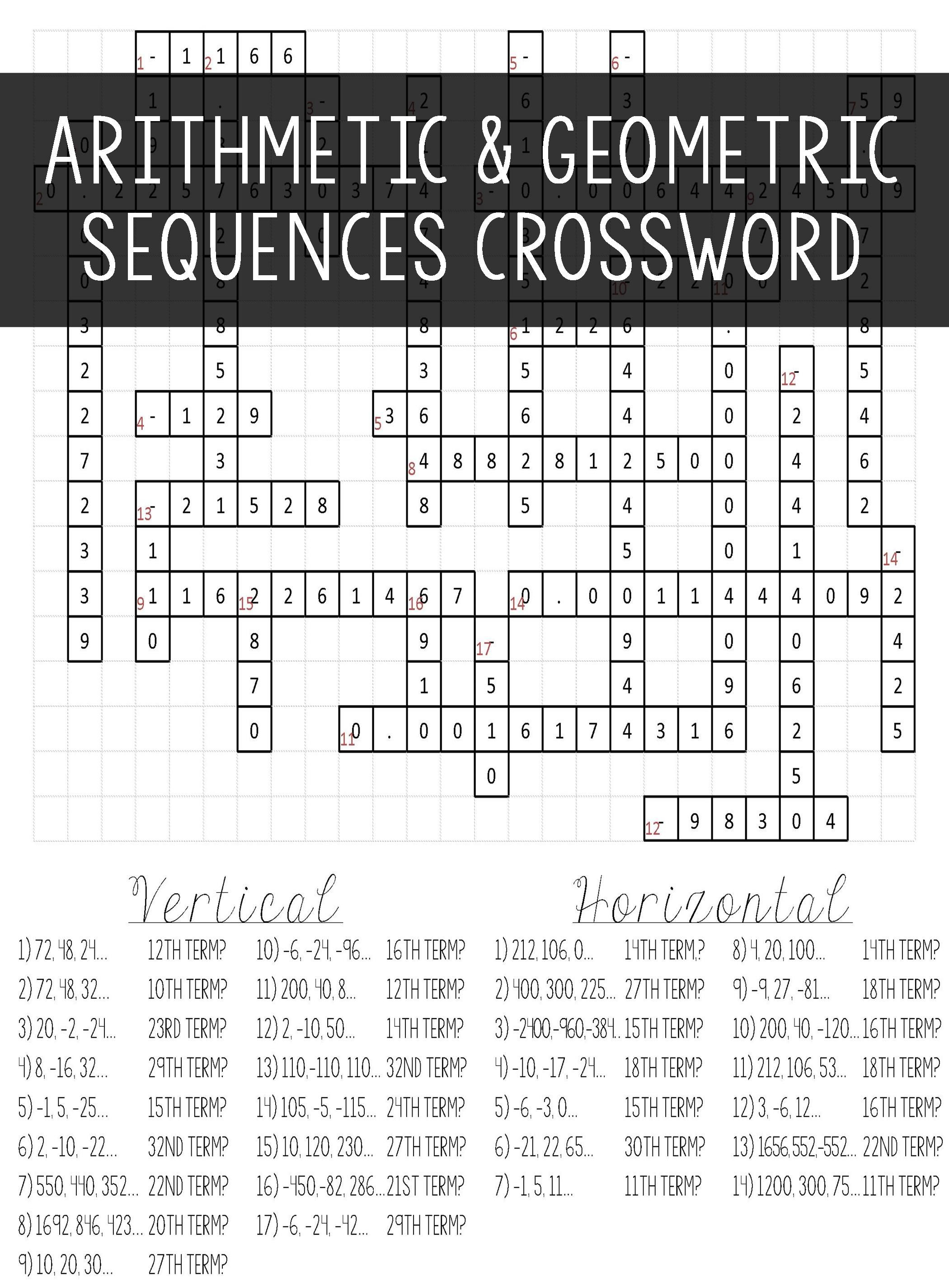 Arithmetic & Geometric Sequences | Algebra I | Geometric Algebra - Algebra 2 Crossword Puzzles Printable