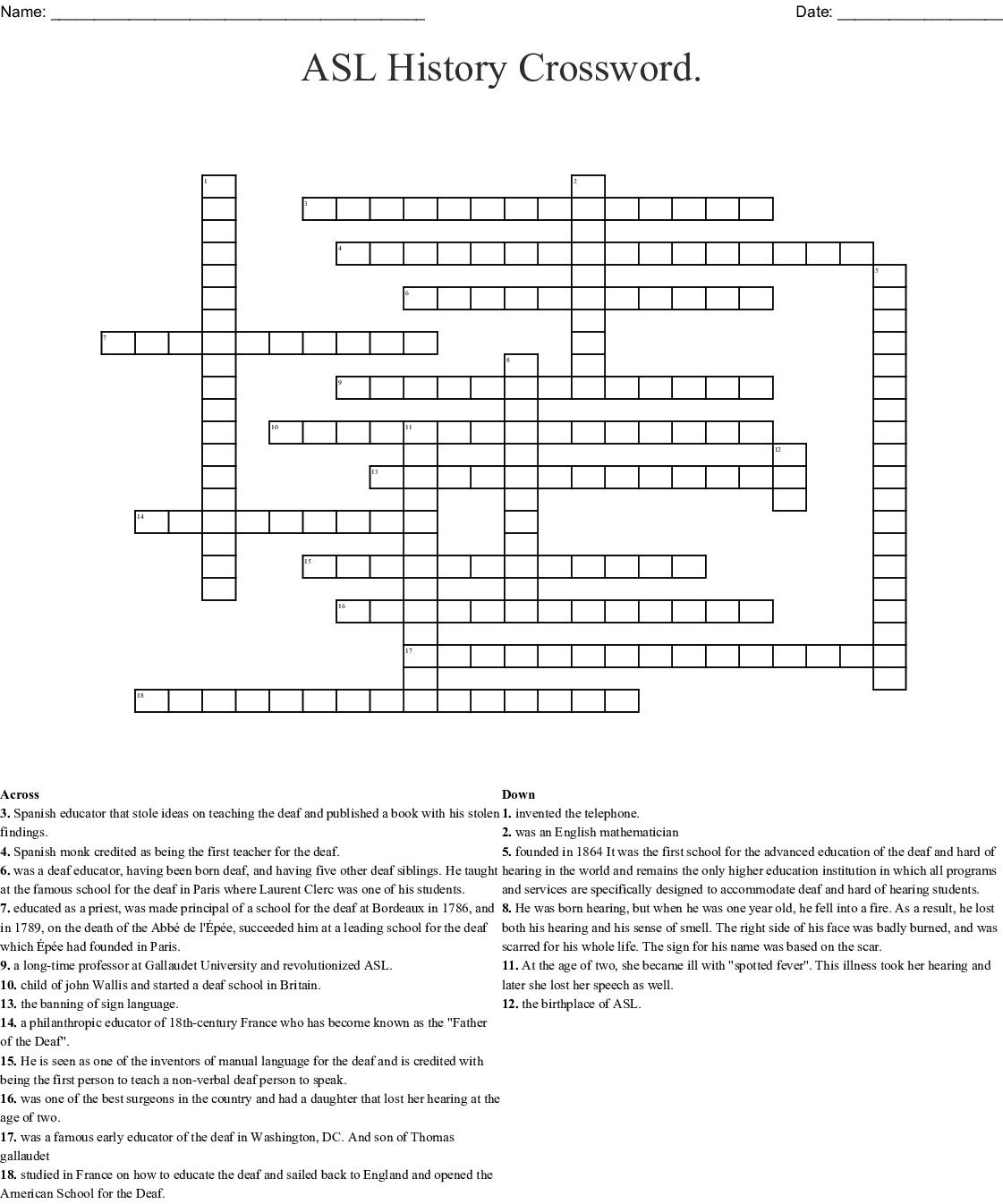 Asl History Crossword. Crossword - Wordmint - Printable History Crossword Puzzles