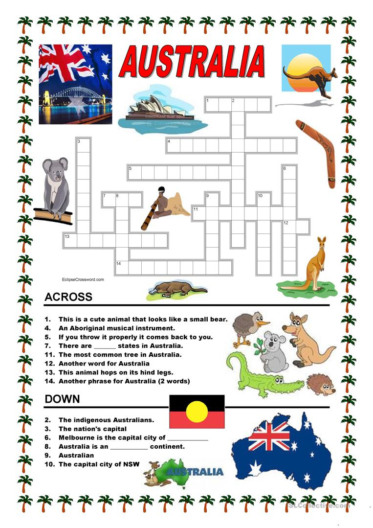 Australia - Crossword 1 Worksheet - Free Esl Printable Worksheets - Printable Crossword Australia