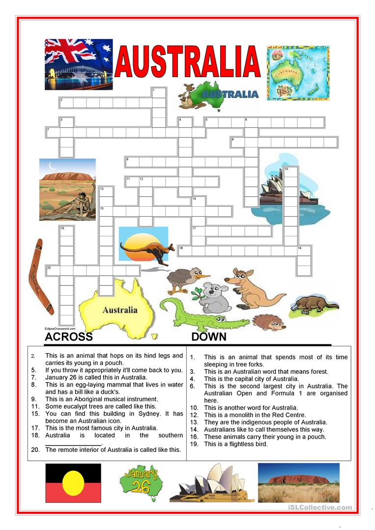 Australia - Crossword - 2 Worksheet - Free Esl Printable Worksheets - Printable Crossword Australia