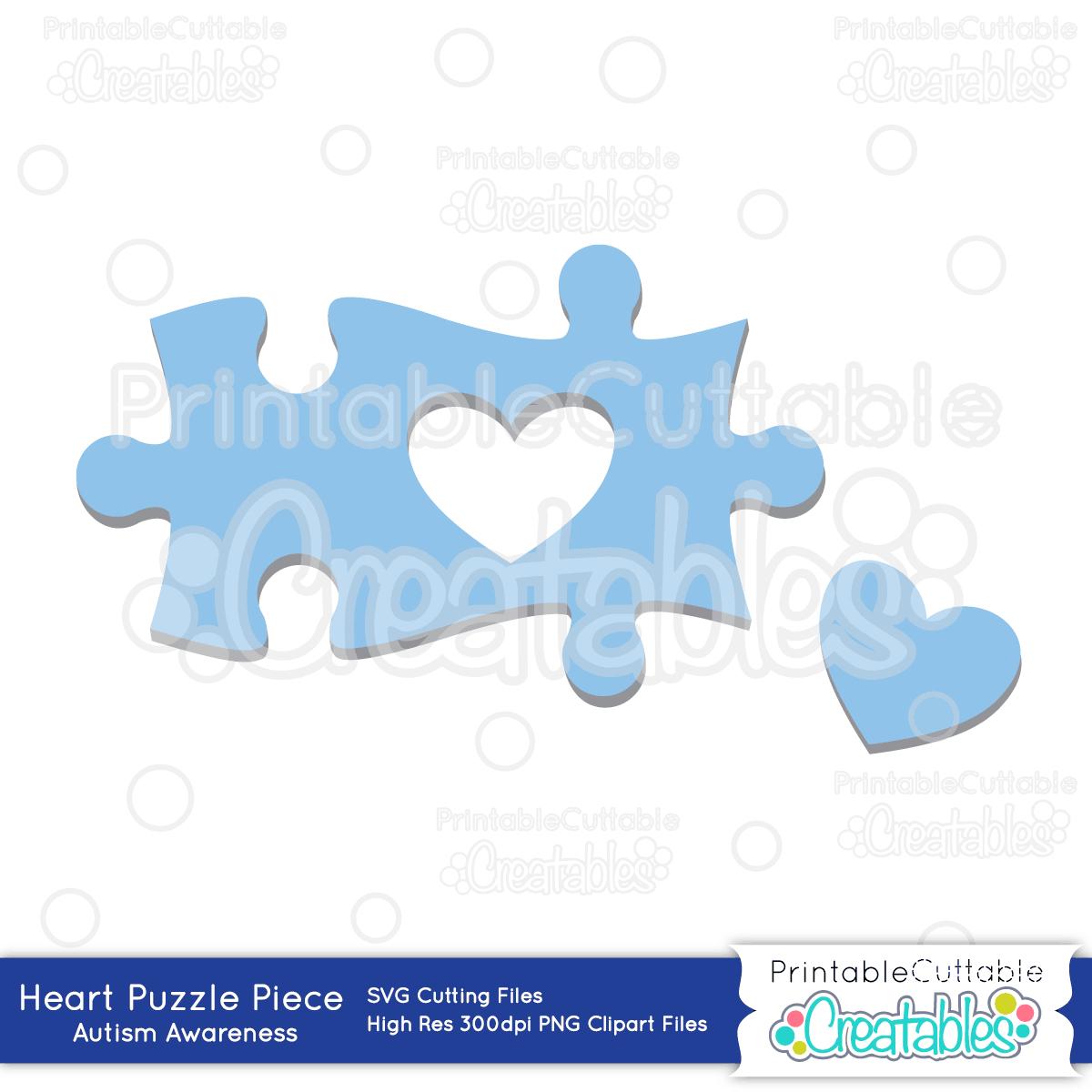 Autism Heart Puzzle Piece - Sofontsy - Printable Autism Puzzle Piece