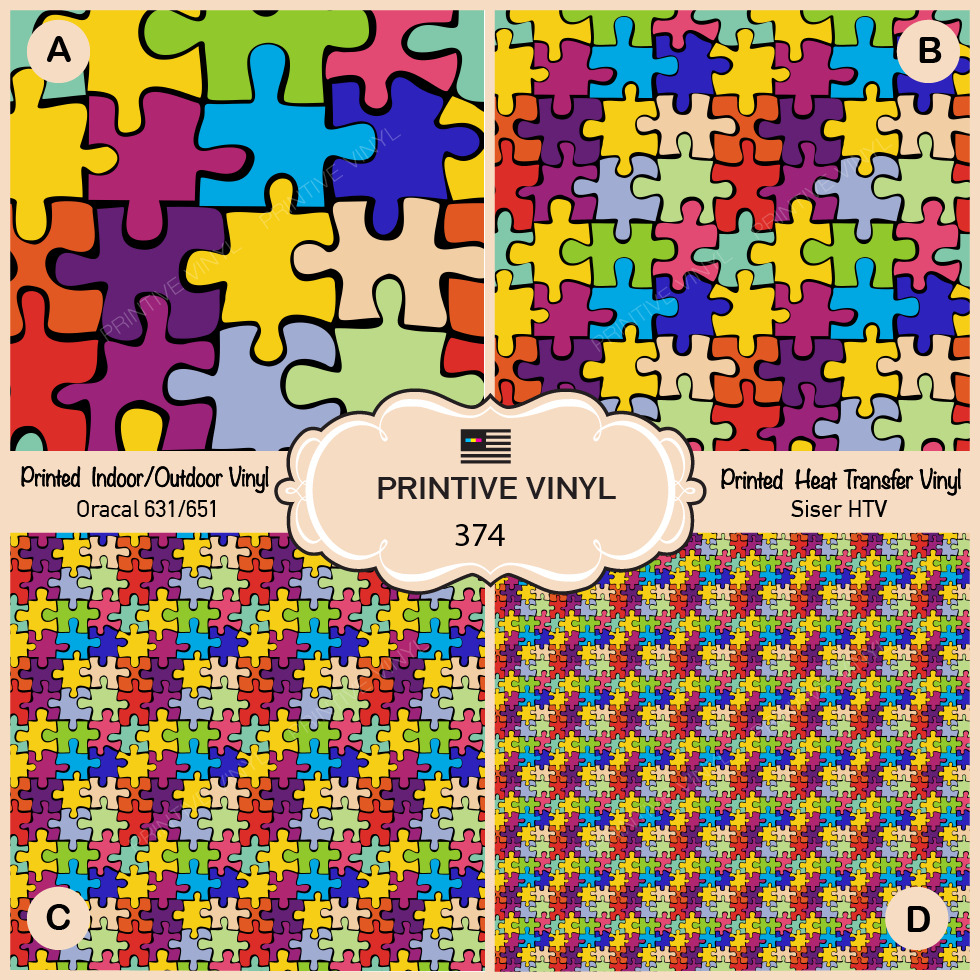 Autism Puzzle Pattern Printed Htv, Adhesive Vinyl- 374 | Ebay - Puzzle Print Htv