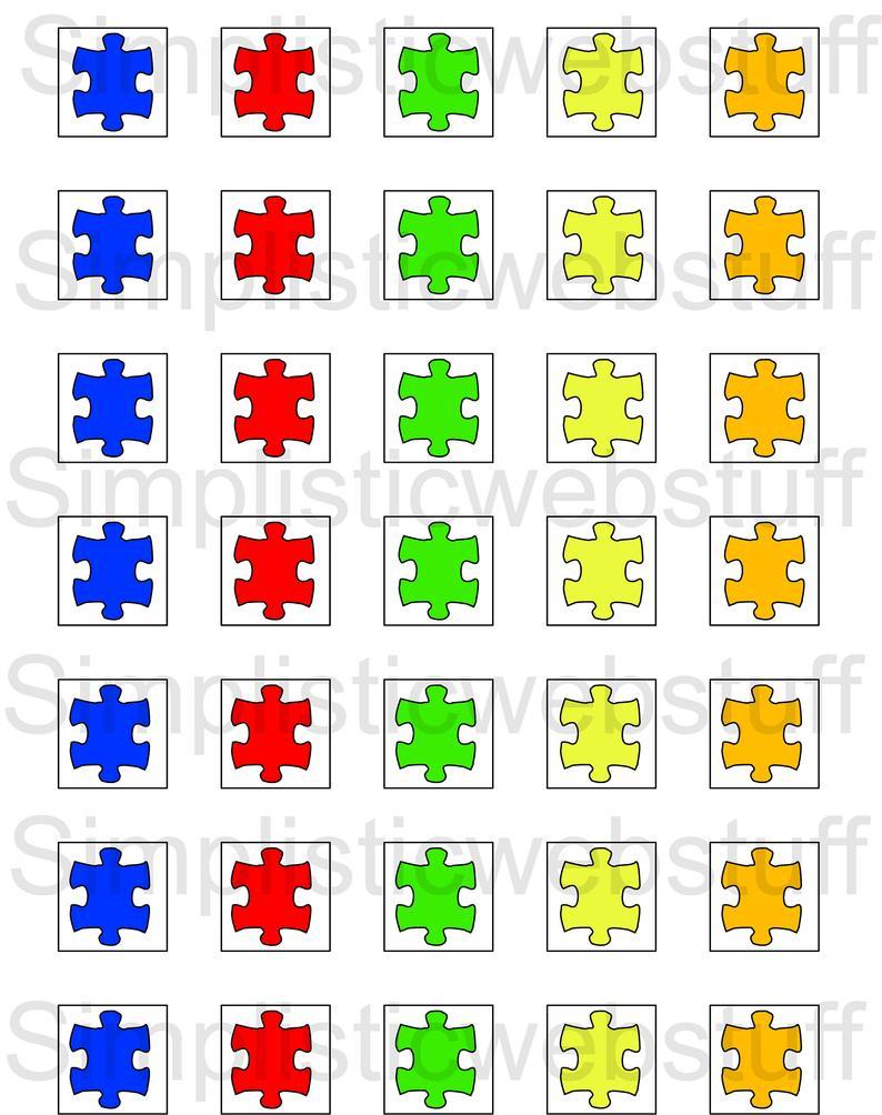 Autism Puzzle Piece 1X1 Inch Square Printable For Pendants | Etsy - Printable Autism Puzzle Piece