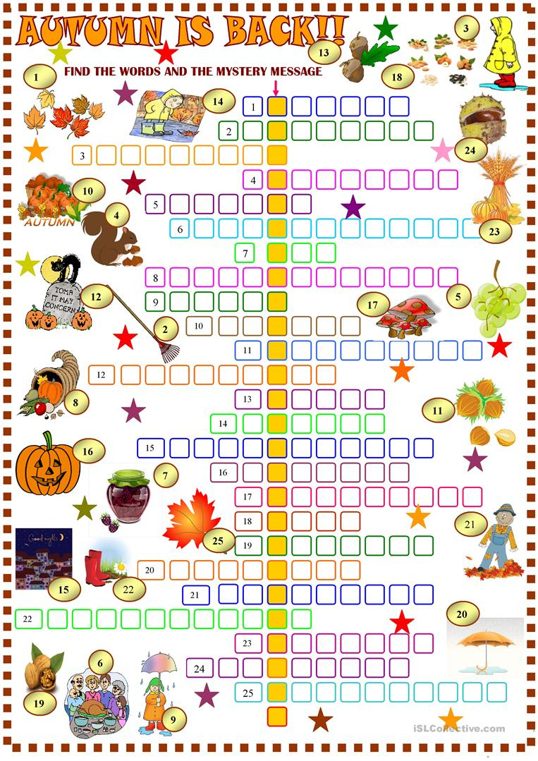Autumn : Crossword Puzzle With Key Worksheet - Free Esl Printable - Fall Crossword Puzzle Printable