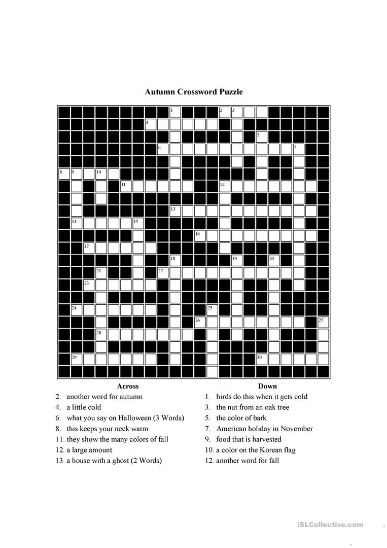 Autumn Themed Crossword Puzzle Worksheet - Free Esl Printable - Free Printable Themed Crossword Puzzles Halloween