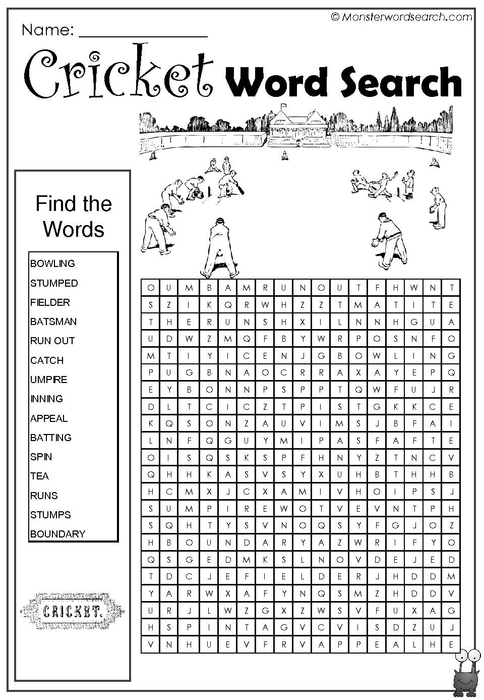 Awesome Cricket Word Search | Word Search | Cricket, Word Games - Crossword Puzzles Printable 1980S