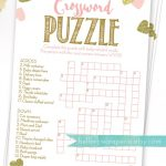 Baby Shower Crossword Puzzle Game . Pink And Gold Girl Baby Shower   Printable Baby Crossword Puzzles