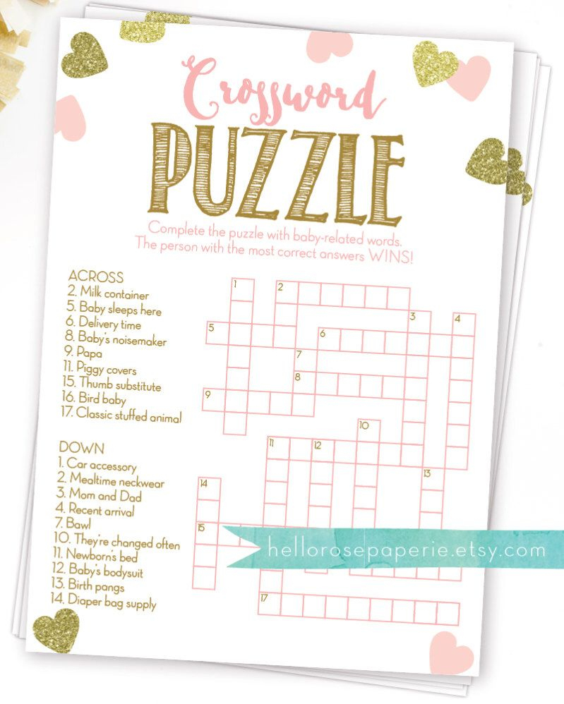 Baby Shower Crossword Puzzle Game . Pink And Gold Girl Baby Shower - Printable Crossword Puzzles For Baby Shower