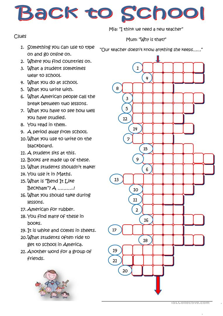 Back To School Crossword Worksheet - Free Esl Printable Worksheets - High School English Crossword Puzzles Printable