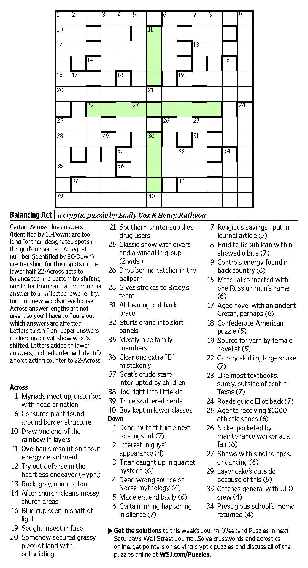 Balancing Act (Saturday Puzzle, March 25) - Wsj Puzzles - Wsj - Wall Street Journal Crossword Puzzle Printable