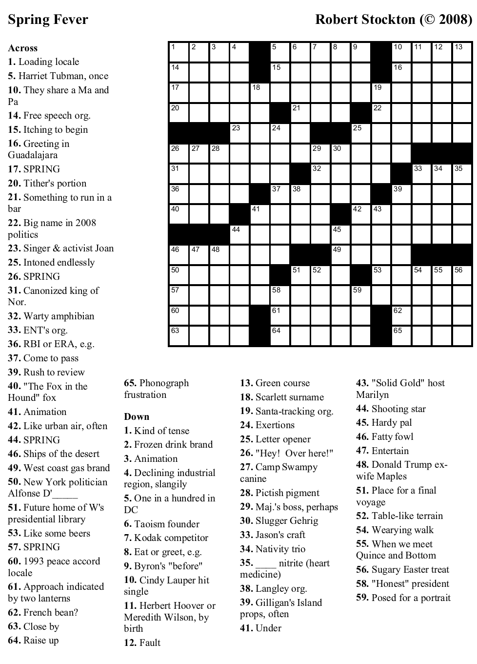 "Beekeeper Crosswords » Blog Archive » Puzzle #38: ""Spring Fever"" - Printable Spring Puzzle"