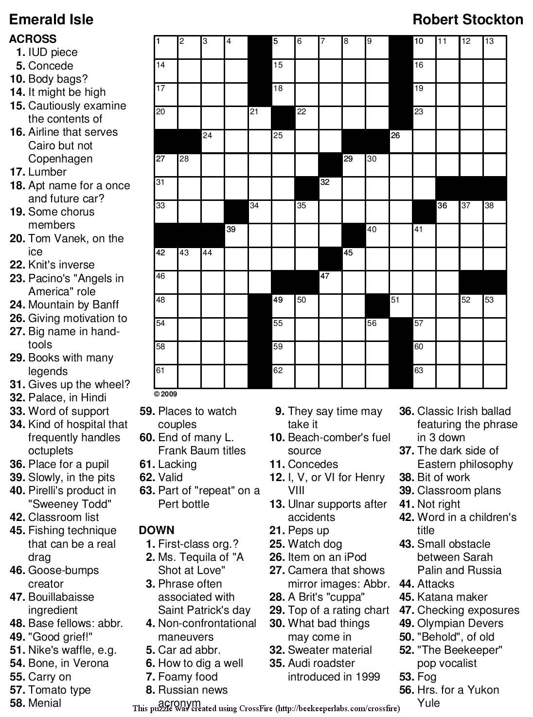 "Beekeeper Crosswords » Blog Archive » Puzzle #89: ""Emerald Isle"" - Printable Crossword Puzzles Will Shortz"