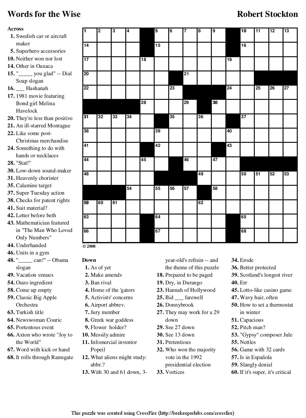Beekeeper Crosswords - Guardian Quick Crossword Printable Version