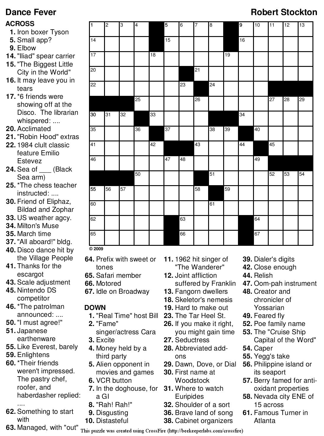 Beekeeper Crosswords - Printable Crossword Puzzle And Solutions
