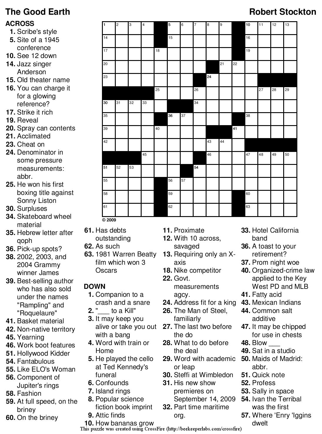 Beekeeper Crosswords - Printable Crossword Puzzle Difficult