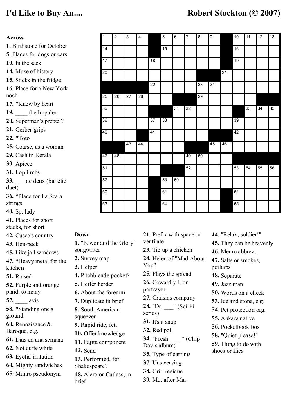 Beekeeper Crosswords - Printable Crossword Puzzle New York Times