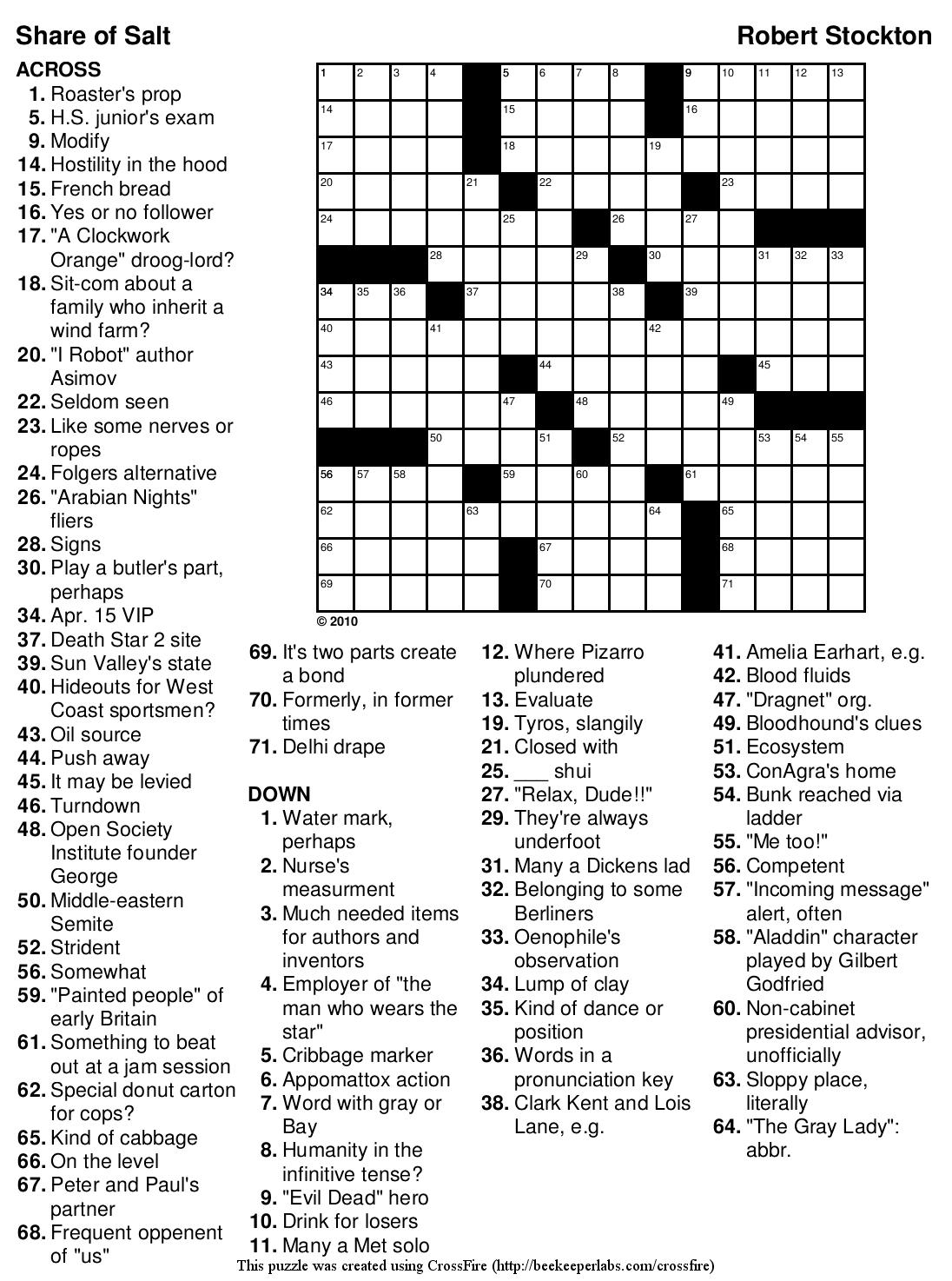 Beekeeper Crosswords - Printable Crossword Puzzles 2010