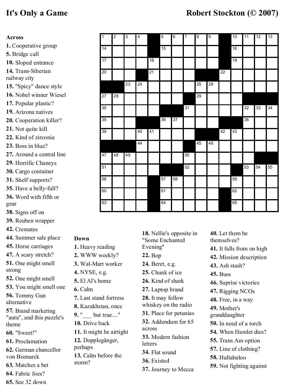 Beekeeper Crosswords - Printable Crossword Puzzles Challenging