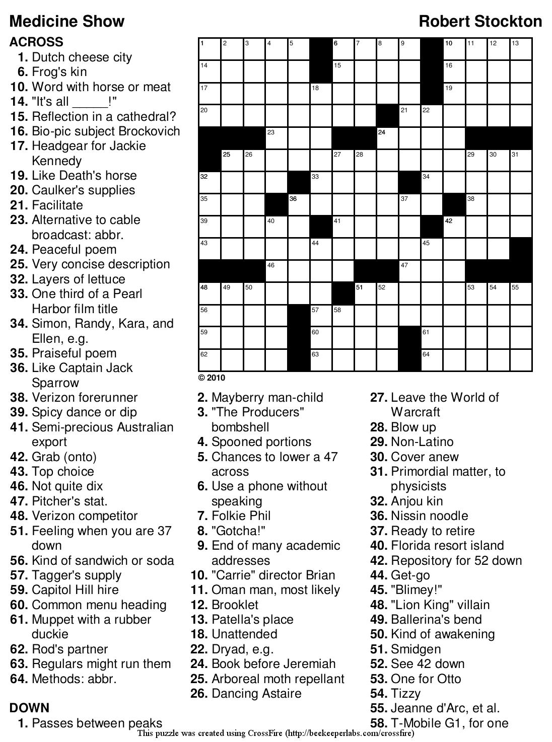 Beekeeper Crosswords - Printable Crossword With Solutions