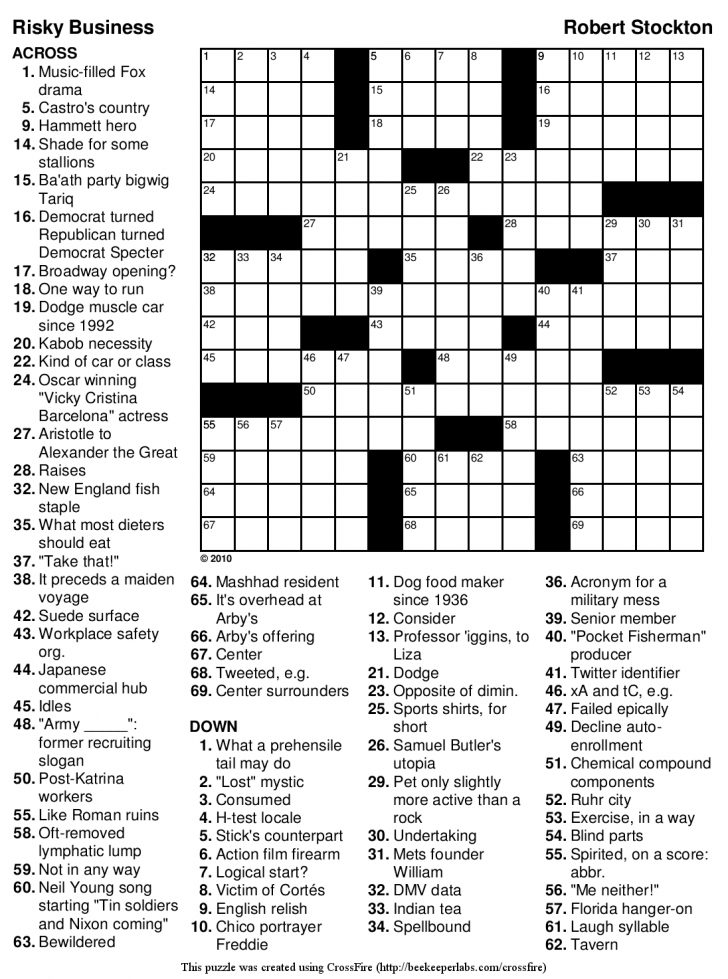 Printable Medical Crossword Puzzles Free