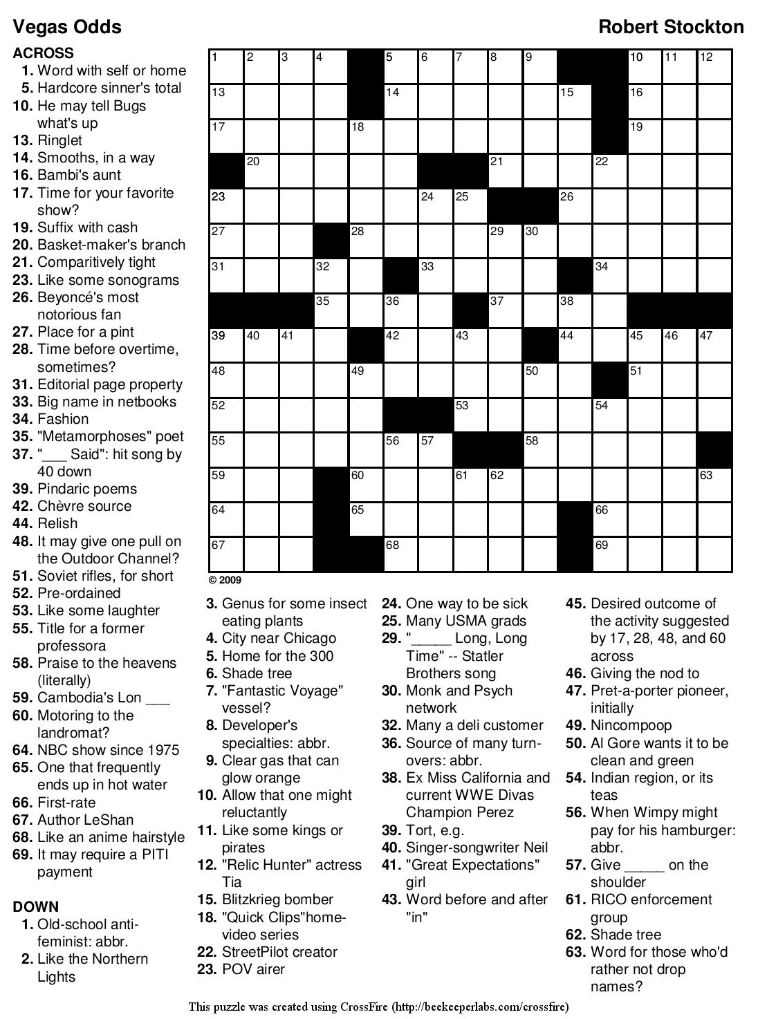 Beekeeper Crosswords - Printable Puzzles Difficult