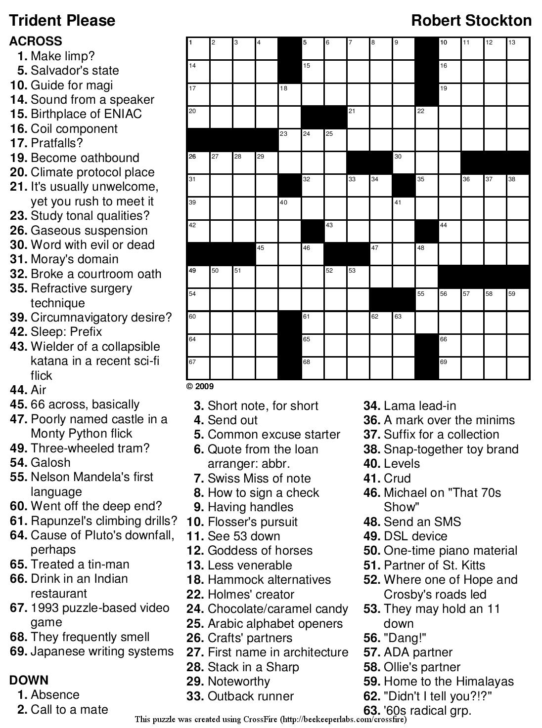 Beekeeper Crosswords - Zelda Crossword Puzzle Printable
